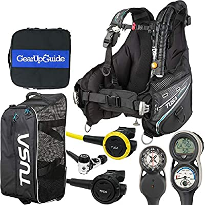 TUSA Soverin Alpha BCD - Element Console Scuba Gear Package w/Gear Up Guide Regulator Bag & Free Roller Mesh Gear Bag, BCD - Large