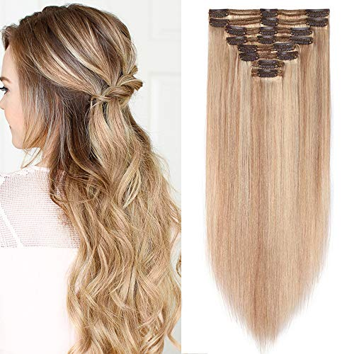 Extension Clip Capelli Veri 8 Fasce Bionde Balayage Double Weft 25cm con 18 Clips 110g - 100% Remy Human Hair #18P613 Biondo Cenere/Chiarissimo