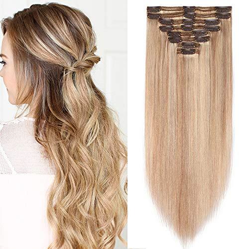 Clip in Extensions Echthaar Doppelt Tressen Haarverlängerung 8 Teilig 100% Remy Hair für Komplette kopf Honigblond/Hellblond #18p613 24