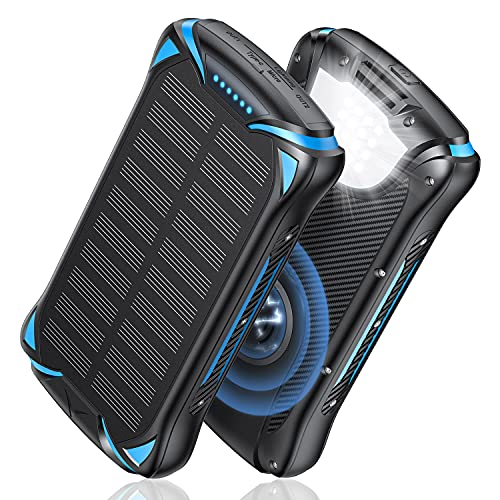 Nuxgal Power Solar Powerbank 30000mAh Qi Wireless Externer Akku Tragbare Ladegerät USB C Power Bank mit LED Taschenlampe,3 Eingängen und 2 Ausgängen Solarladegerät Kompatibel mit Smartphone,Tablet usw