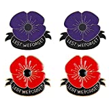 Red Purple Poppy Brooch Pin Lest We Forget Brooches Remembrance Day Memorial Day Gifts for Women Men