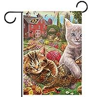 ガーデンフラッグ、庭の装飾庭の旗、屋外バナー垂直12x18インチ猫 家の装飾のため