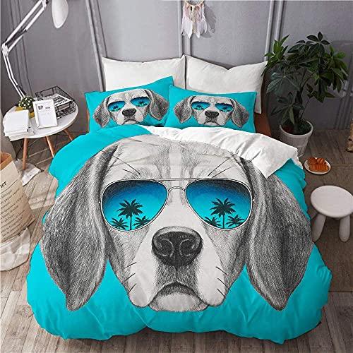 ATZTD Juego de funda de edredón de microfibra, diseño de perro de Beagle con gafas de sol de espejo, dibujado a mano, juego de cama decorativo con 2 fundas de almohada
