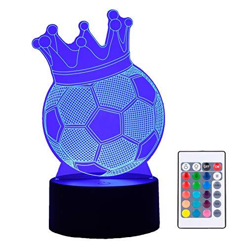 Lámpara LED con efecto 3D de pelota de futbol balon con corona rey, 16 colores táctil control remoto, modo USB y batería, ilusión óptica, regalo decoración nocturna habitación