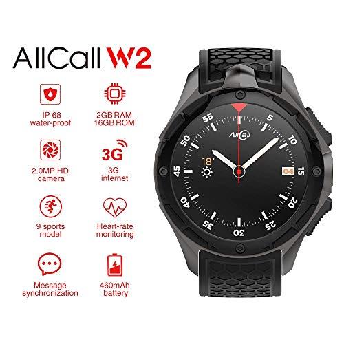 Generic AllCall W2 IP68 Android Smartwatch – 3G, 3,39 Zoll Touchscreen, MTK 6580, Kompass, Schrittzähler, Herzfrequenzsensor, Android 7.0