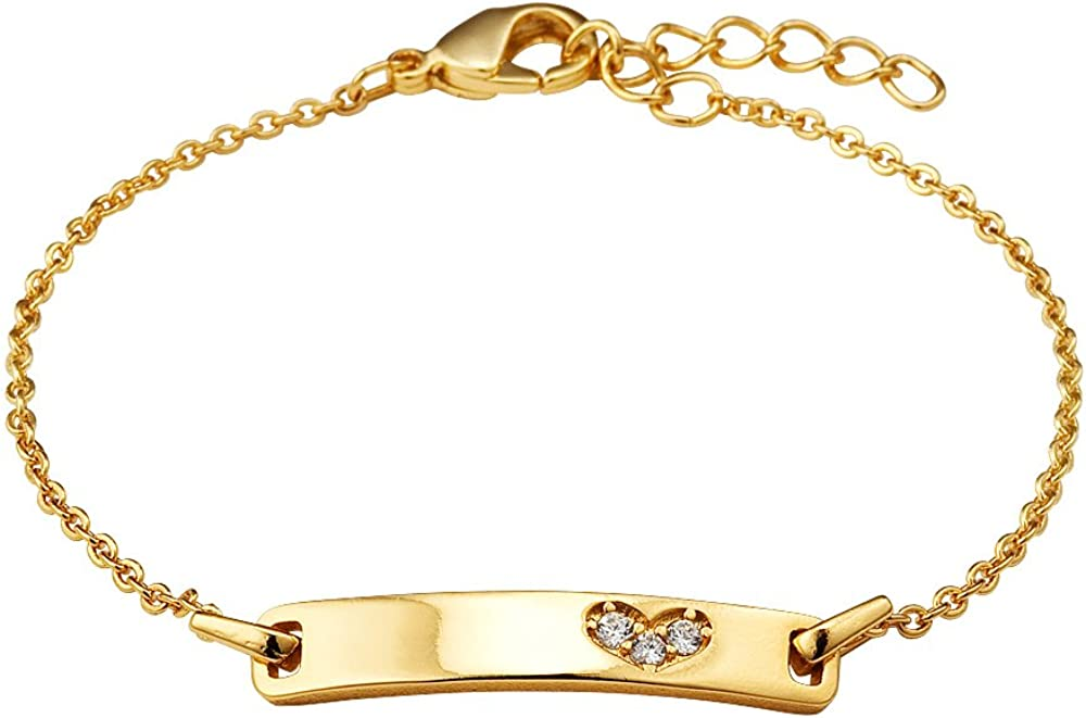 Lovearing 14k Gold Plated Brass Baby ID Cubic Zirconia Heart Rolo Link Chain Girls 6