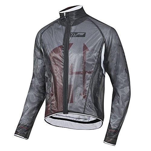 prolog cycling wear Transparente Regenjacke extrem dünn, elastisch und wasserdicht, atmungsaktiv für Damen, Herren, Kinder in schwarz, weiß oder neon gelb (schwarz, Herr M)