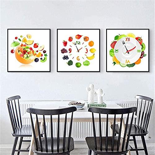 SHSYFBH Pintura Moderna Reloj Verduras Cartel Fruta Plato Creativo Tomate Pintura de Pared Decoración Impresión en Lienzo Decoración de Cocina 3 Piezas 80x80cm sin Marco
