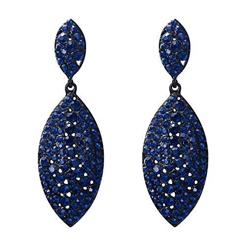 EVER FAITH Mujer Cristal Austríaco Gota de Agua Art Deco 2 Hoja Perforado Pendientes Azul Marina Tono Negro
