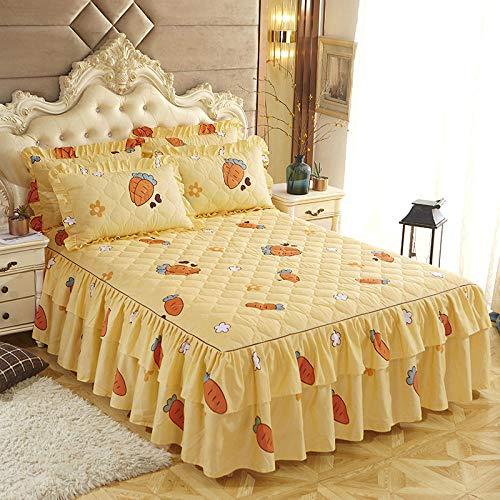 CYYyang Protector de colchón, algodón, poliéster, Hoja de Cama de Encaje de Falda de Cama engrosada-22_120 * 200cm