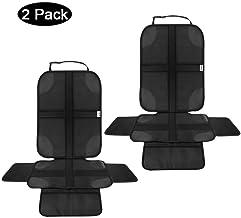 Autositzauflage Autositzschoner kindersitz mit rutschfester Polsterung und Organizer-Taschen QUEES Kindersitzunterlage ISOFIX-geeignet und Universal Fit