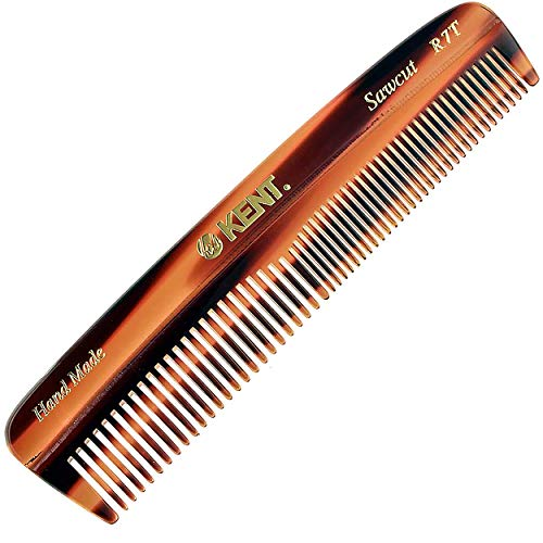Kent R7T The Apsley Fine Tooth/Wide Tooth Comb for Beard Care and Mustache Comb  Pocket Comb Hair and Beard Comb  Kent Comb for Travel Kit Beard Kit  Hair Combs for Men and Hair Combs for Women