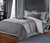Chic Home 8-Piece Euphoria Embroidered Comforter Set, Queen, Grey