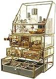 LTCTL, organizador de maquillaje de vidrio transparente, caja de almacenamiento de cosméticos para joyería con 6 cajones, vitrina de tocador clásica antigua hecha a mano