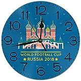 ロシア2018ワールドフットボールカップ 置き時計 掛け時計 壁掛け時計 丸い時計 サイレント デジタル時計 おしゃれ 家の装飾
