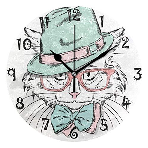 LDIYEU Abstracto Gatito Gato Fresco Reloj de Pared Silencioso Decorativo Madera Vintage Relojs para Niños Niñas Cocina Dormitorio Hogar Oficina Escuela Decoración