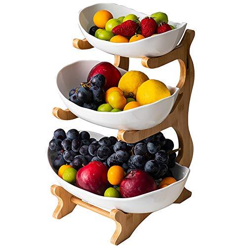 10pcs 3-Stufige Obstschale (Regal Aus Bambus Und Holz * 1, Keramikschale * 3), Tischdekoration Obstkorb, FüR Obst,Brot, Snacks,White