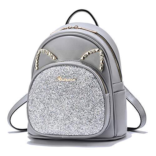 Mädchen Mini Rucksack Pailletten Süß Leder börse Katzenohren Frauen Daypacks - Grau -
