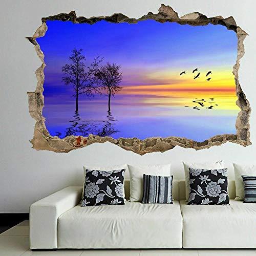 Hermoso Paisaje Silueta 3D Pared Arte Pegatina Mural Calcomanía Decoración Del Hogar Gr24 agujero de la pared 50X70 cm