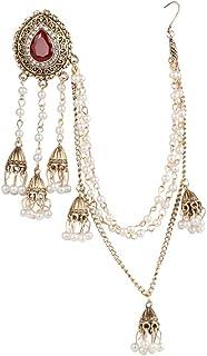 JOOKEEL Jewelry Earring Link Headdress For Women 1Pcs Gold Pearl Tassel Earrings Crystal Party Jewelry