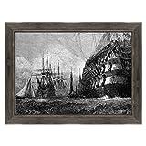 Tableau sur toile avec cadre – Gravure antique de Turner – Naves de bataille Londres 1865 – 70 x 100 cm – Style Country Noir Shabby – (code 3307)