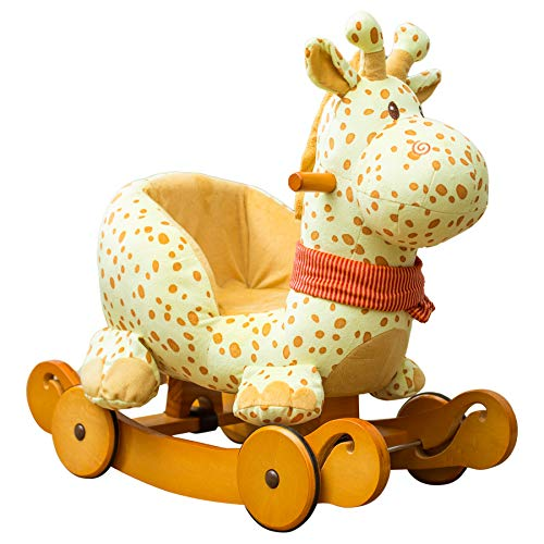 Labebe Child Rocking Horse Plush, Fawn Rocking Horse Stuffed, 2 in 1 Yellow Giraffe Rocker with Wheel for Kid 6-36 Months, Wooden Rocking Horse/Rocker/Animal Ride/Deer Rocker for Boy&Girl
