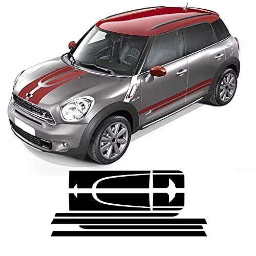 NCUIXZH Decalcomania Cofano Motore Copertura Motore Kit Corpo Tronco Strisce Laterali in Vinile Adesivo Gonna , per Mini Countryman R60 Cooper S JCW Accessori
