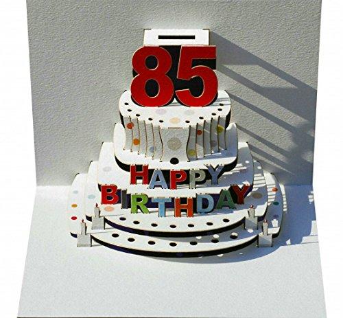 FOREVER Pop Up 3D Karte Geburtstagskarte 85 Geburtstag Gutschein Torte 16x11cm
