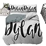 HouseLookHome Bedding Comforter Sets Duvet Cover Dylan Bedding - Lightweight and Soft Monochrome Arrangement of Letters Stylized Font Design Hand Drawn Typography,3 Piece Bedding Set,Queen/King Size