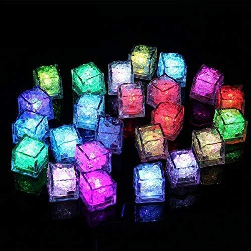 Binnan 12 Pcs Cubito de Hielo con LED Luz Reutilizable para Fiesta, Boda, Club y Bar ect, Multicolor