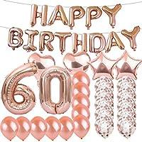 Sweet 60th Birthday デコレーション パーティー用品 ローズゴールド数字 60バルーン 60th フォイルマイラーバルーン ラテックスバルーン デコレーション 女の子、女性、男性、写真撮影用小道具