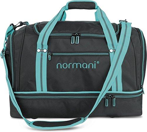 normani Sporttasche 58 Liter - Fitnesstasche - Reisetasche mit großem Schuhfach und Nassfach für Damen und Herren | 55 cm x 30 cm x 36 cm Farbe Hellblau