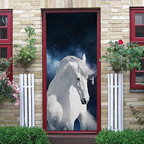 LuSeven vinilos para puertas de cristal Caballo animal blanco 90x200cm(35.43 inches * 78.74 inches) Papel tapiz para puerta, póster mural, foto 3d, autoadhesivo, impermeable, pelar y pegar, película d
