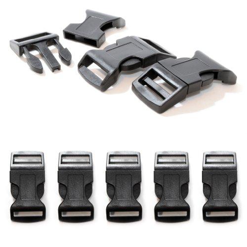 """Fermoir à clip en plastique, idéal pour les paracordes (bracelet, collier pour chien, etc), boucle, attache à clipser, grandeur: XL, 1"""", 65mm x 32mm, couleur: noir, de la marque Ganzoo - lot de 5 fermoirs"""