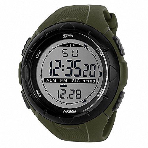 SKMEI 1025 - Orologio da polso sportivo da uomo, stile militare, con display LCD digitale, impermeabile, modello militare