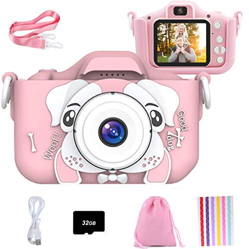 Set de Cámara de Fotos Digital para Niños con Juegos, Cámara Infantil con Tarjeta de Memoria Micro SD 32GB, Cámara Digital Video Cámara Infantil para Niños Regalos deCumpleaños, 1080P (Rosado-Perro