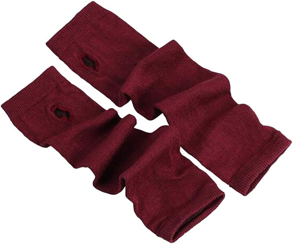 Women's Long Fingerless Gloves Mittens Knitted Arm Warmers with Thumb Hole Elastic Gloves