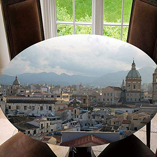 SUPNON Outdoor Tablecloth Spillproof Polyester Table Cover Sicily, Landscape Image of Palermo City Old for Patio Garden Tabletop Decor Diameter 67' Tablecloth (Fit for 55'-59' Table) AM029188