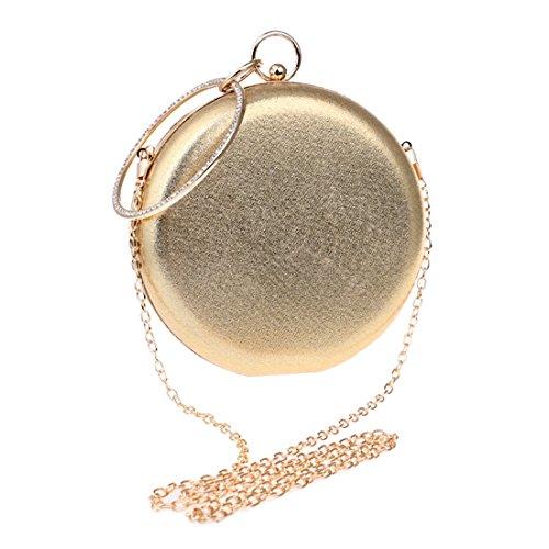 SUIWO Damen Clutch Glitzer Elegant Abendtasche Glä Abendtasche for Frauen, Geldbeutel-Schulter-Kupplungs-Frauen Umhängetasche Handtasche Candy-wildes runde Kugel Bankett Purse (Farbe : Gold)