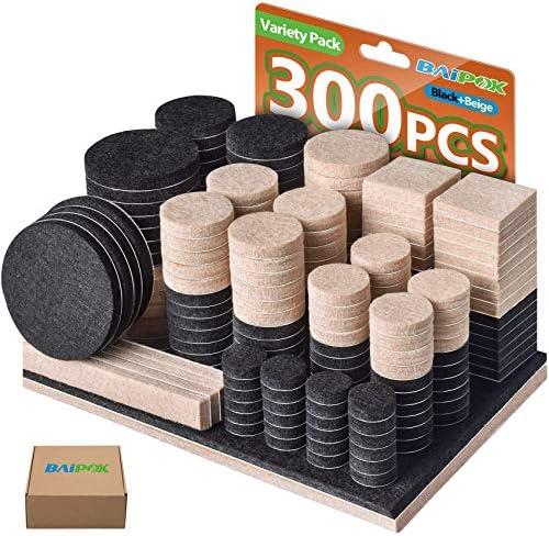 Furniture Pads 300 Pcs Furniture Felt Pads Two Colors Black 130 Beige 110 Various Sizes Self product image