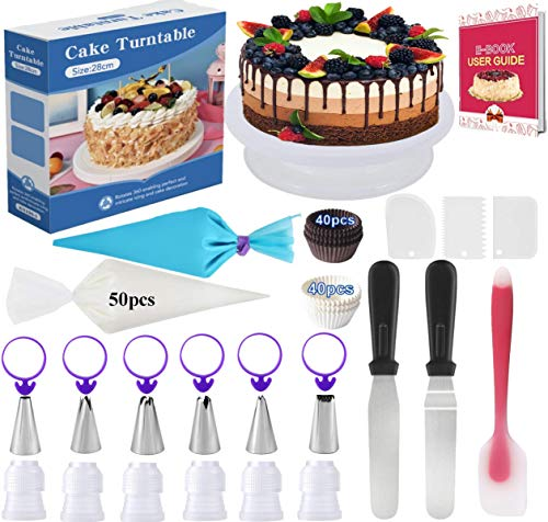Cake Decorating Kits Baking Supplies 156Pcs Baking Accessories with Cake Turntable Stand, Icing Spatula Smoother, Icing Decorating Tips,Icing Disposable Pastry Bag Ties, Icing Coupler, Paper Cupcake