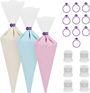 Kootek 28 Pieces Cake Decorating Tools with 12 Pack 3 Sizes (12 + 14 + 16 inches) Reusable Silicone Piping Pastry Bags, 6 Standard Couplers and 10 Icing Bag Ties Baking Supplies (Clear)