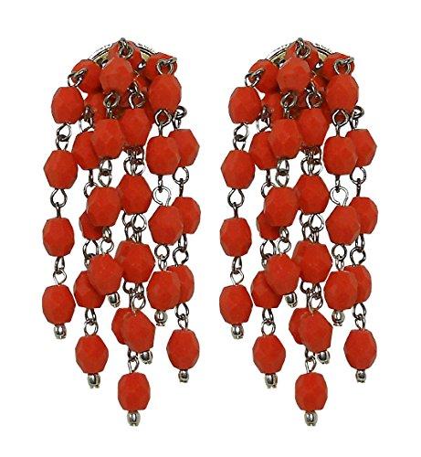 CHARA CORAL - Orecchini a clip, senza buco, pendenti donna a grappolo in resina Corallo, originale anni 60, nickel free, lunghezza cm. 5,5