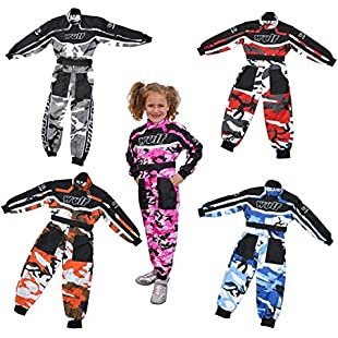 Motorbike Motorcycle Kids Race Suits WULFSPORT CAMO Cub Kart Quad MX Motocross New Suit Overall All Colours (ORANGE, 7-8 Years)