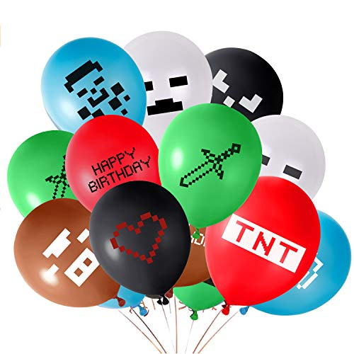 FEPITO 24PCS Video Game Party Balloons Globos de cumpleaños para Juegos de 12 Pulgadas para Miner Gamer Party Favors, 12 Patrones Diferentes