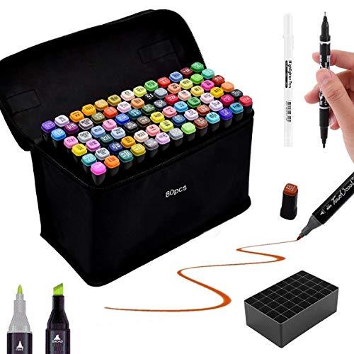 Timesun Juego de 80 rotuladores dobles de colores, lápices de colores grasos a base de agua, marcadores con doble punta, marcadores artísticos graffiti