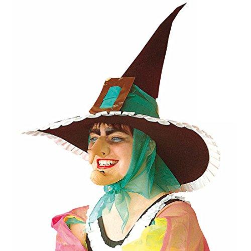 Amakando Nez de sorcière magicienne Long avec verrue horrifiant Nuit de Walpurgis Nez crochu Conte de fées Accessoire Halloween