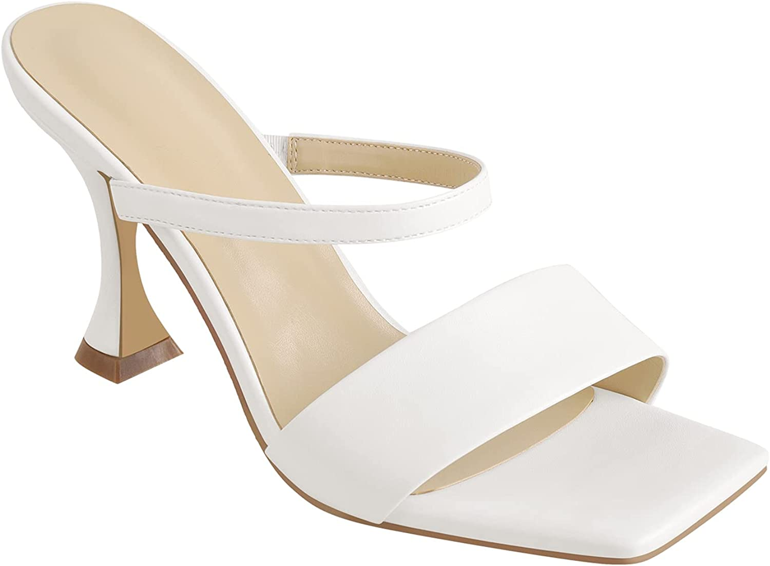LISHAN Women's Square Open Toe Two Straps High Heel Sandals