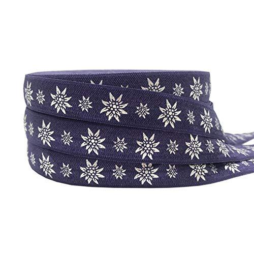 10 mètres 15 mm feuille d'or fleur aztèque imprimé plier sur bande élastique extensible bricolage filles cheveux cravates accessoires bandeau, 3, bande élastique - 10 ans