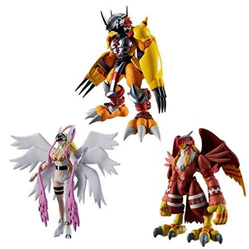 3 Stück / Set Anime Figur Digimon Adventure Wargreymon / Angewomon Actionfigur Sammler Modell Spielzeug Für Jungen 8-10Cm